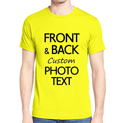 Yellow Text T-shirt - NIWAHO Customized tee Shirts Add Your Own Text Print Personalized Funny T-Shirt Gift Yellow