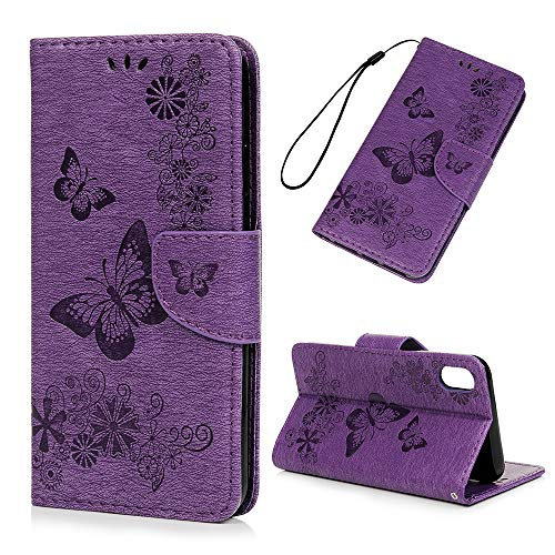 iPhone Xs Max Case, Floral Butterflies Wallet Case PU Leather Magnetic Flip Cover Shock Resistant Flexible Soft TPU Ultra Slim Protective Bumper Card Slots Kickstand Lanyard for iPhone Xs Max Purple