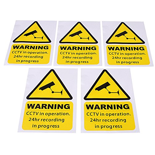 Alamor 5Pcs Yellow Window Warning Stickers Signs Decal Cctv In Operation