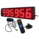 5'' 6 Digits LED Large Clock for Semi-outdoor and Outdoor Use Affordable LED Race Timing Clock Red Color 12/24-Hour Display Support Countdown/up Function Wireless IR Remote Control Ultra Brightness