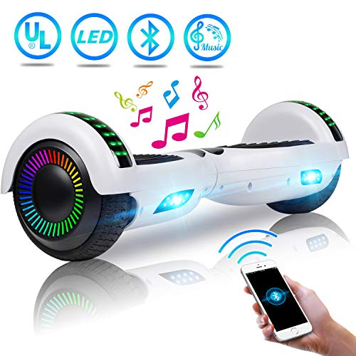 UNI-SUN Hoverboard for Kids, Self Balancing Scooter 6.5″ Two-Wheel Self Balancing Hoverboard with Bluetooth and Lights