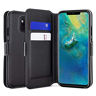 buy popular 9ff2f c5748 Olixar Huawei Mate 20 Pro Wallet Case - Genuine Leather - Slim Protective  Cover - Card Storage Slots and Built In Media Viewing Stand - Wireless ...