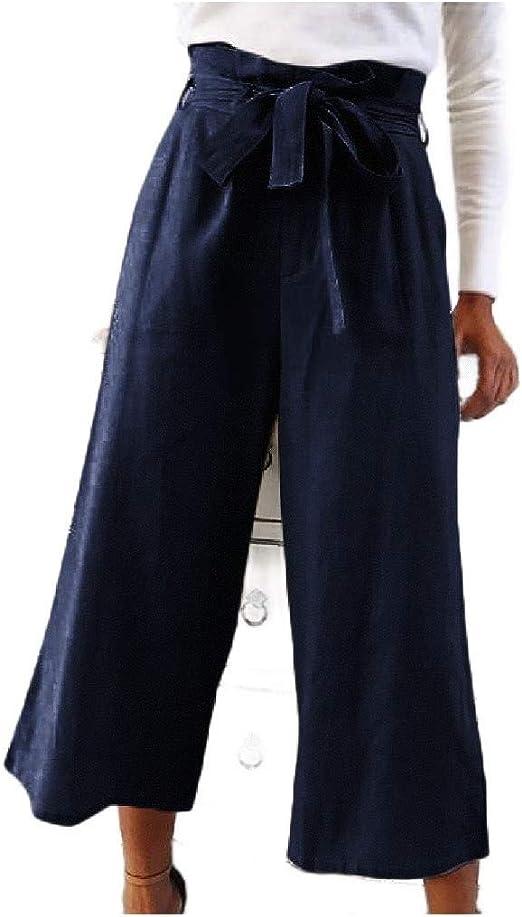 Tootess Women's Relaxed Plus-size High Waist Wide Leg Wide Leg Pants