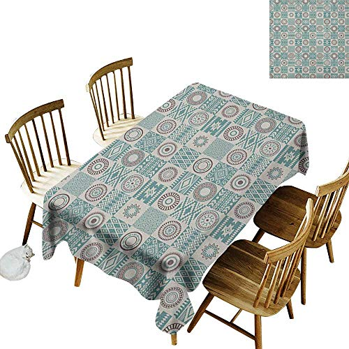 kangkaishi Easy to Care for Leakproof and Durable Long tablecloths Outdoor Picnic Checkered Squares with Ethnic Motifs Rhombuses Circles and Stripes W60 x L84 Inch Ivory Brown and Slate Blue