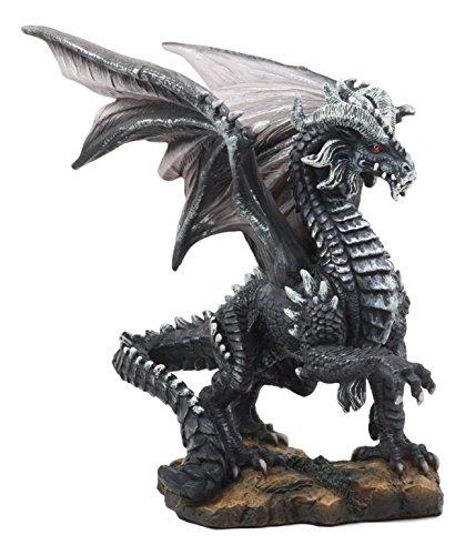 Ebros Mythical Fantasy Silver Volander Ancient Wise Dragon Statue 8