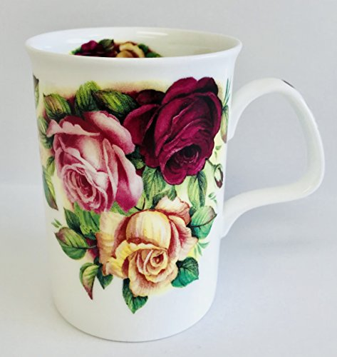 Garden Roses In A Beautiful Deep Red, Pink & Pale Yellow On A White Fine Bone China Mug | Roses On The Handle Too! | Holds 10 ounces | 3 - Mug Garden Rose