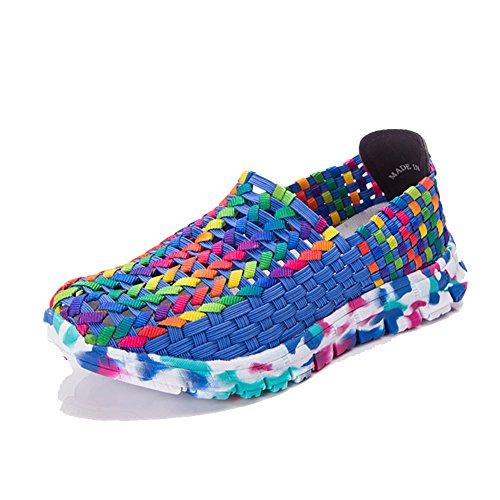 Sneakers Donna Loubit Fatte A Mano Su Scarpe Intrecciate Scarpe Da Passeggio Traspiranti Blu