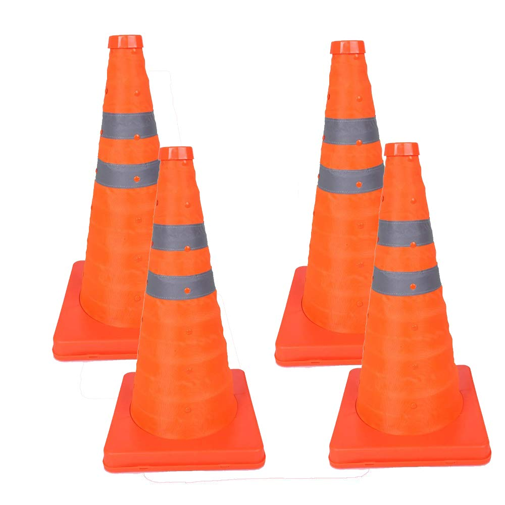 BESEA 28 inch Collapsible Traffic Cones Pop up Safety Road Parking Cones Easily Noticed Cones Orange Cone Body. (Pack of 4)