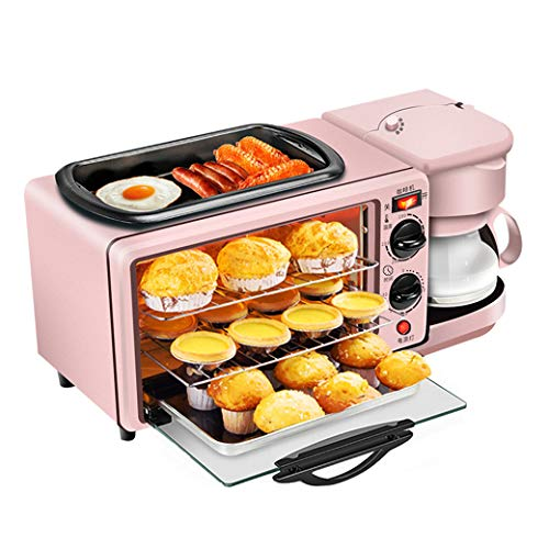 NOKUN Family Three-in-One Retro Breakfast Machine, Toaster Oven Pan Three-in-One Multi-Function Breakfast Center, Regular, Pink