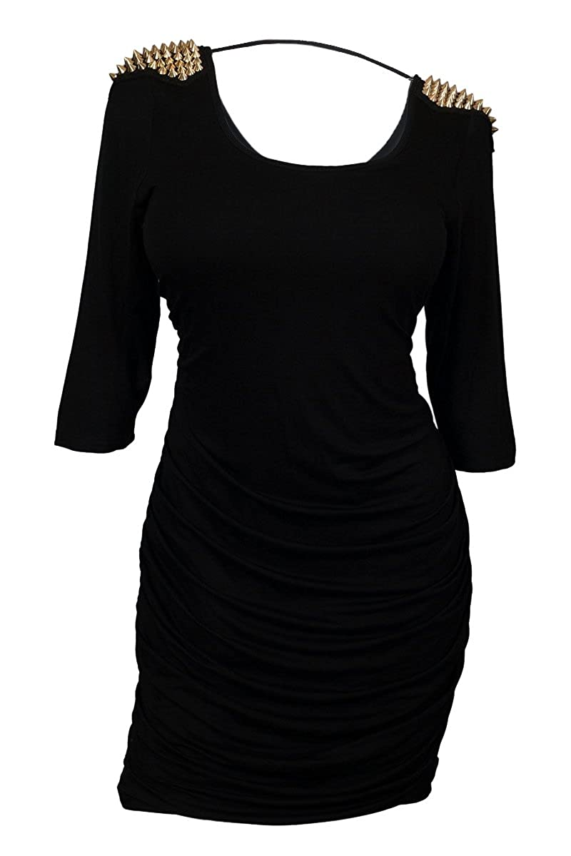 eVogues Plus size Spiked Shoulder Knit Dress L20121027D_BLK
