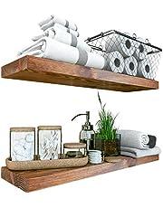 "BAOBAB WORKSHOP Wood Floating Shelves Set of 2 - Rustic Shelf 24 inch - Made in Europe - Wide Wooden Wall Shelves for Living Room Bedroom Kitchen Bathroom Farmhouse - Walnut Color - 24"" x 6.7"""