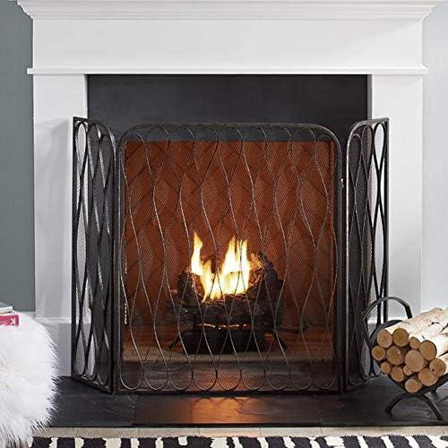 暖炉 スクリーン 金属メッシュで覆われた鉄の炉の暖炉スクリーン3- 幅50 X高さ35.4インチ、 ベビーセーフプルーフスパークガードカバー、 室内装飾(黒)