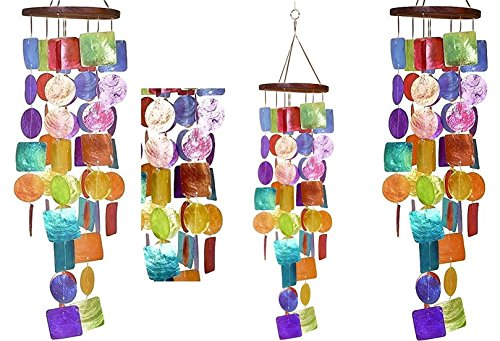 "Bellaa 22890 Capiz Wind Chime Big 26"" Inches"