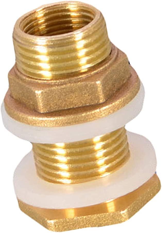 LOVIVER Solid Brass Bulkhead Tank Fitting Straight Female Pipe and Garden Hose Threaded - DN20