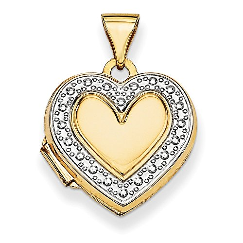 Solid 14k Yellow and White Gold Two Tone Accent Heart Locket (15mm x - Two Tone Locket Necklace Heart