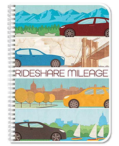 BookFactory Rideshare Mileage Tracker/Ride Share Tracking Log Book/Logbook, Wire-O - 104 Pages, 5