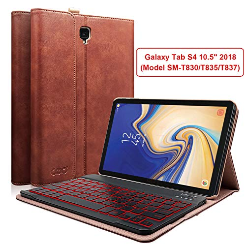 COO Keyboard Case for Samsung Galaxy Tab S4 10.5 inch 2018(Model SM-T830/T835/T837), PU Leather Stand Cover with Detachable Wireless Keyboard, 7 Color Backlit (Brown)