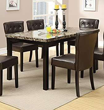 Amazon.com - Faux Marble Top Dining Table by Poundex - Tables