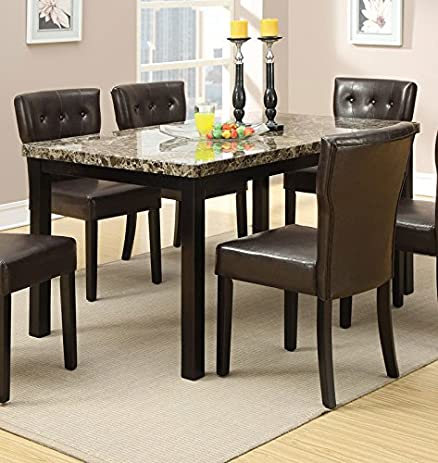 Amazoncom Poundex Faux Marble Top Dining Table Home Kitchen