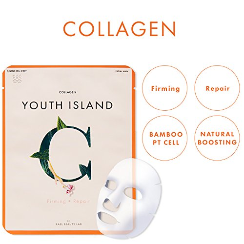 41oThj7kPML Rael Youth Island Face Mask Sheet With Collagen: Firming And Lifting Face Mask For Fine Lines, Wrinkles And Aging Skin, Best For Skin With Signs Of Premature Aging, 5 Sheet