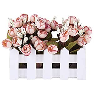 East Lady Wooden Fence Box With Flower Bouquets, White And Pink