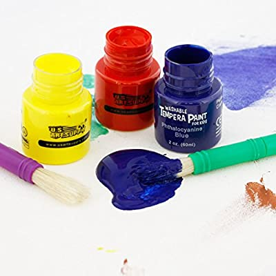 U.S. Art Supply 18 Color Children's Washable Tempera Paint Set - 2 Ounce Wide Mouth Bottles for Arts, Crafts and Posters: Toys & Games