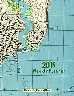 2019 Weekly Planner Pensacola Florida 1944 Vintage Topo Map