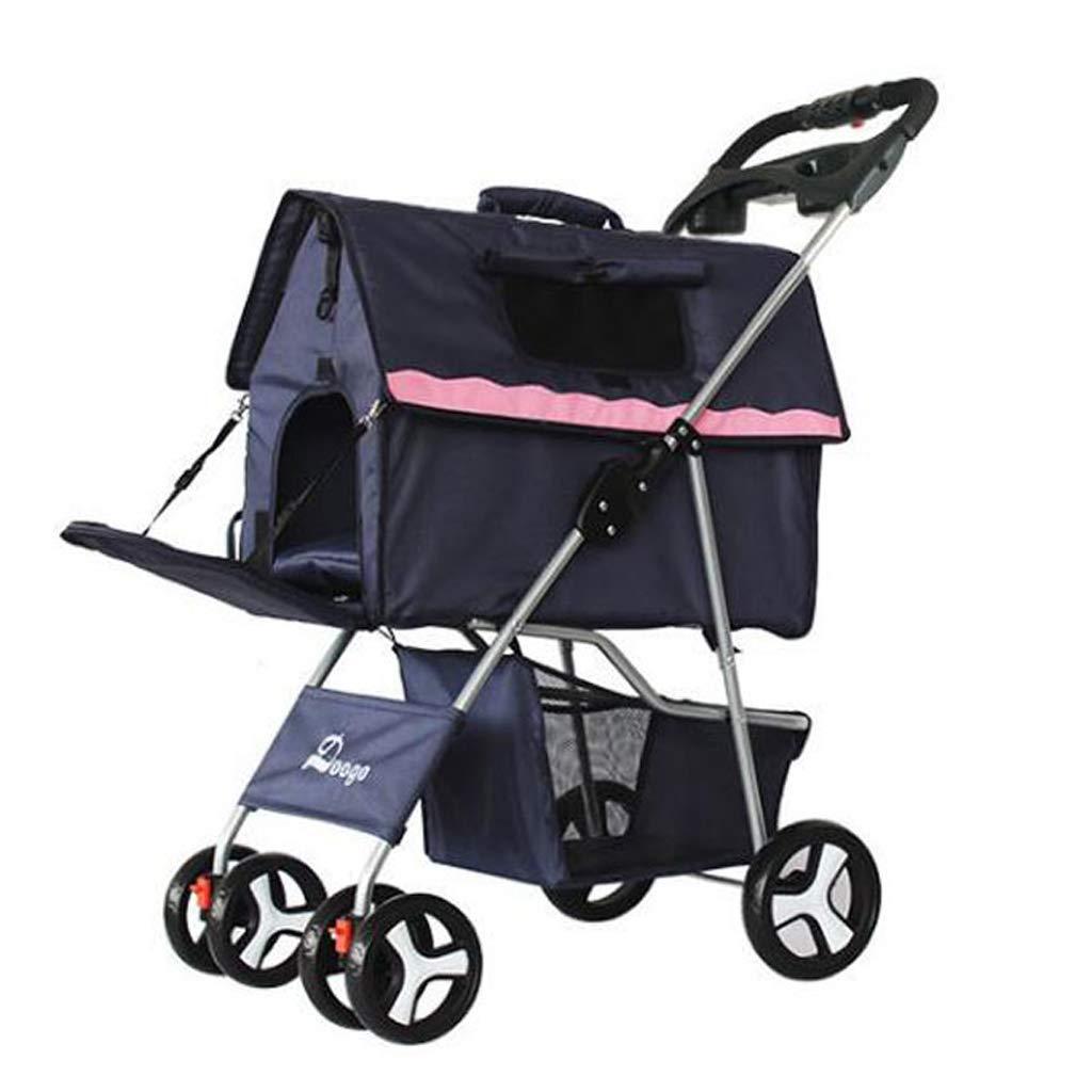 bluee EDYUCGA Foldable Pet Stroller Cart Travel Dog Cat Carrier Bag (color   bluee)