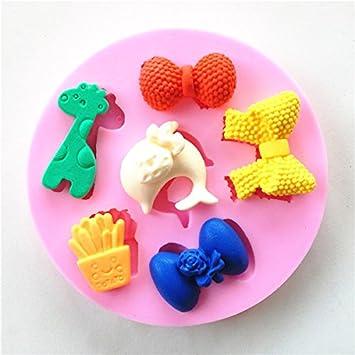 Wocuz W0592 lazos jirafa delfín patrón fondant chocolate candy Making molde pequeño molde de repostería para decoración de pasteles: Amazon.es: Hogar