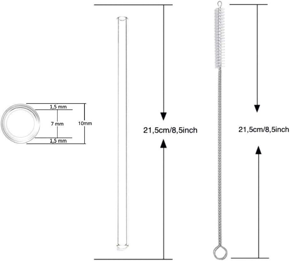 riutilizzabili Thometzki sane 12 pezzi Cannucce in vetro trasparenti 6 dritti 6 curvi certificazione LFGB 21,5 cm con 4 spazzole per la pulizia ecologiche