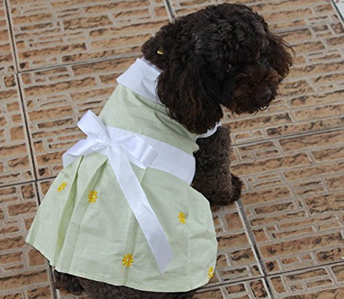 (lovelonglong DKT-006 Pet Clothing Small Dog Clothes Skirt Dress Female Dog Dresses Embroidered Pet Costumes Princess Bow-Knot Skirts 100% Cotton (XL,)