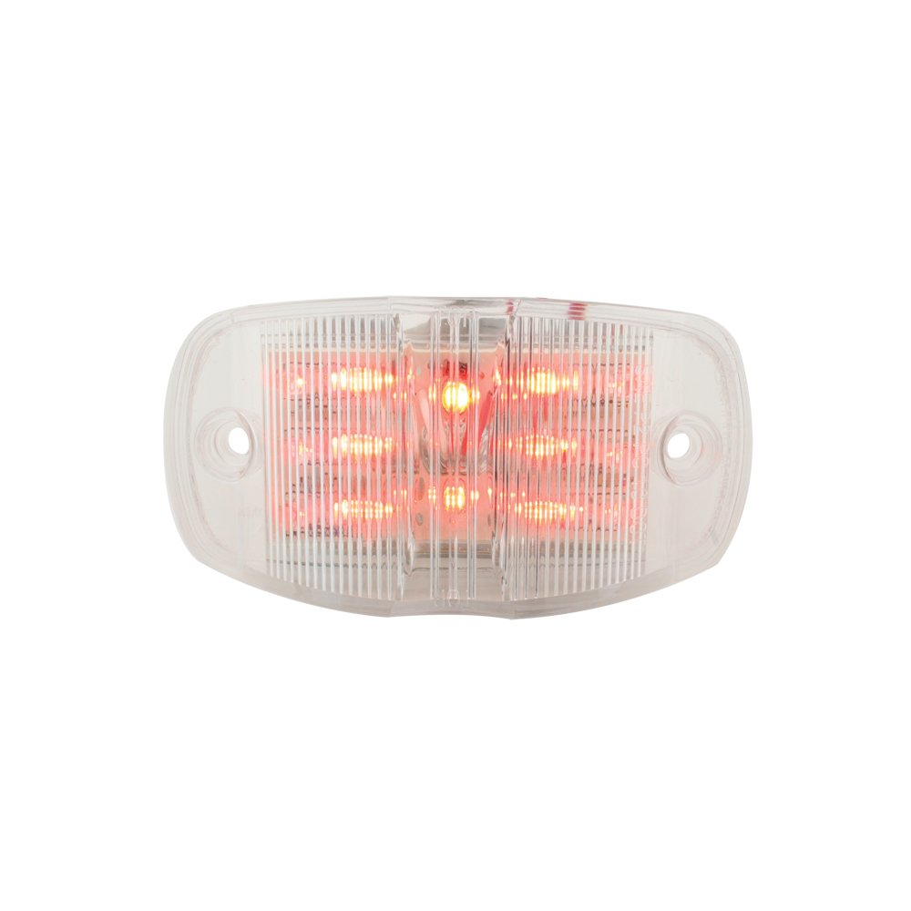 Grand General 76253 Red Rectangular Camel Back Wide Angle 14-LED Marker Sealed Light with Clear Lens