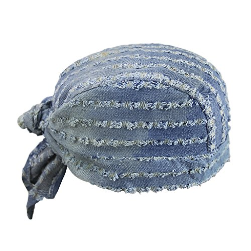 Head Scarfs Moisture Wicking Print Cowboy Denim Pirate Hat Hollow Turban Hats