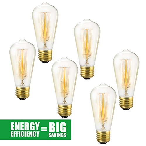 Edison Bulb 6 Pack - ST64 - Squirrel Cage Filament - Dimmable, Edison Style Vintage Light Bulbs - 40 (Frosted Soft Loop)