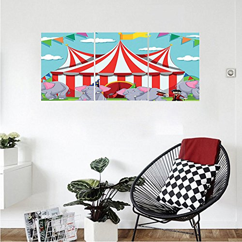 Liguo88 Custom canvas Circus Decor Collection Elephant show at the circus illustration flags performance fun park joy Bedroom Living Room Wall Hanging