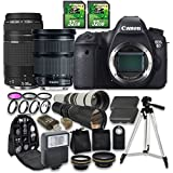 Canon EOS 6D Camera Bundle with Canon EF 24-105mm f/3.5-5.6 IS STM Lens + Canon EF 75-300mm f/4-5.6 III Lens + 500mm f/8 Telephoto Lens + 650-1300mm f/8-16 T-Mount Lens