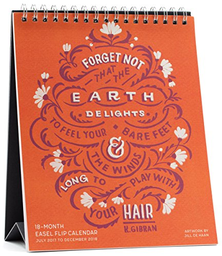 High Note 2018 Beautiful Typography 18-Month Easel Flip Calendar: Inspirational Hand Lettered, Featuring Unique, Original Designer Art by Jill De Haan (CHE0307)