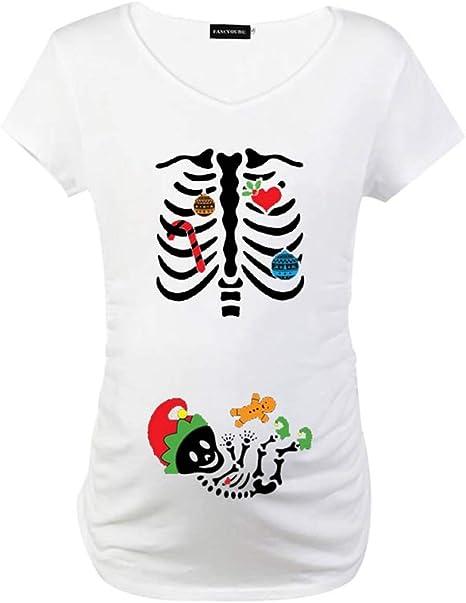 Marlon Nancy - Camiseta de Manga Corta para Embarazadas, diseño de Calavera navideña, Hombre, Peso, Small: Amazon.es: Deportes y aire libre