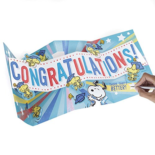 Hallmark Graduation Funny Greeting Card (Peanuts Snoopy and Woodstock, Big Congratulations Fold Out) Photo #3