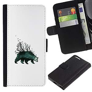 Protector de cuero de la PU de la cubierta del estilo de la carpeta del tirón BY RAYDREAMMM - Apple Iphone 6 PLUS 5.5 - Oso Árboles