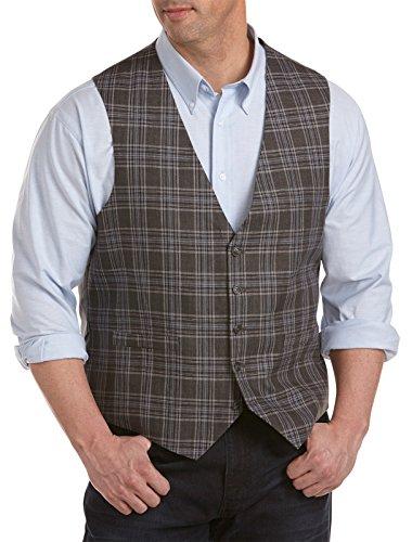 Oak Hill Big & Tall Plaid Vest (3XL, Charcoal)
