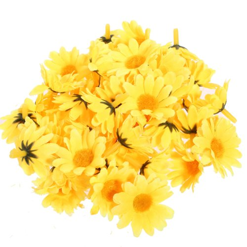 50 Pieces Sunflower Artificial Silk Flower Heads Craft Wedding Party Home Decor (Yellow)