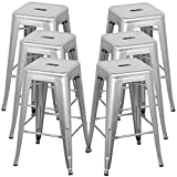 Belleze 30-inch Metal Bar Stools, Modern Barstool Stool Chair (Set of 6) For Sale