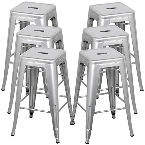 Belleze 30-inch Metal Bar Stools, Modern Barstool Stool Chair Stackable Chair Footrest Gray (Set of 6)