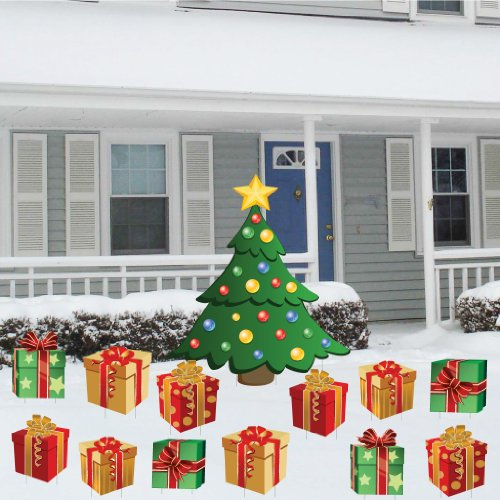 VictoryStore Yard Sign Outdoor Lawn Decorations - Christmas Tree With Presents, Christmas Lawn Display, 13 Piece Total]()
