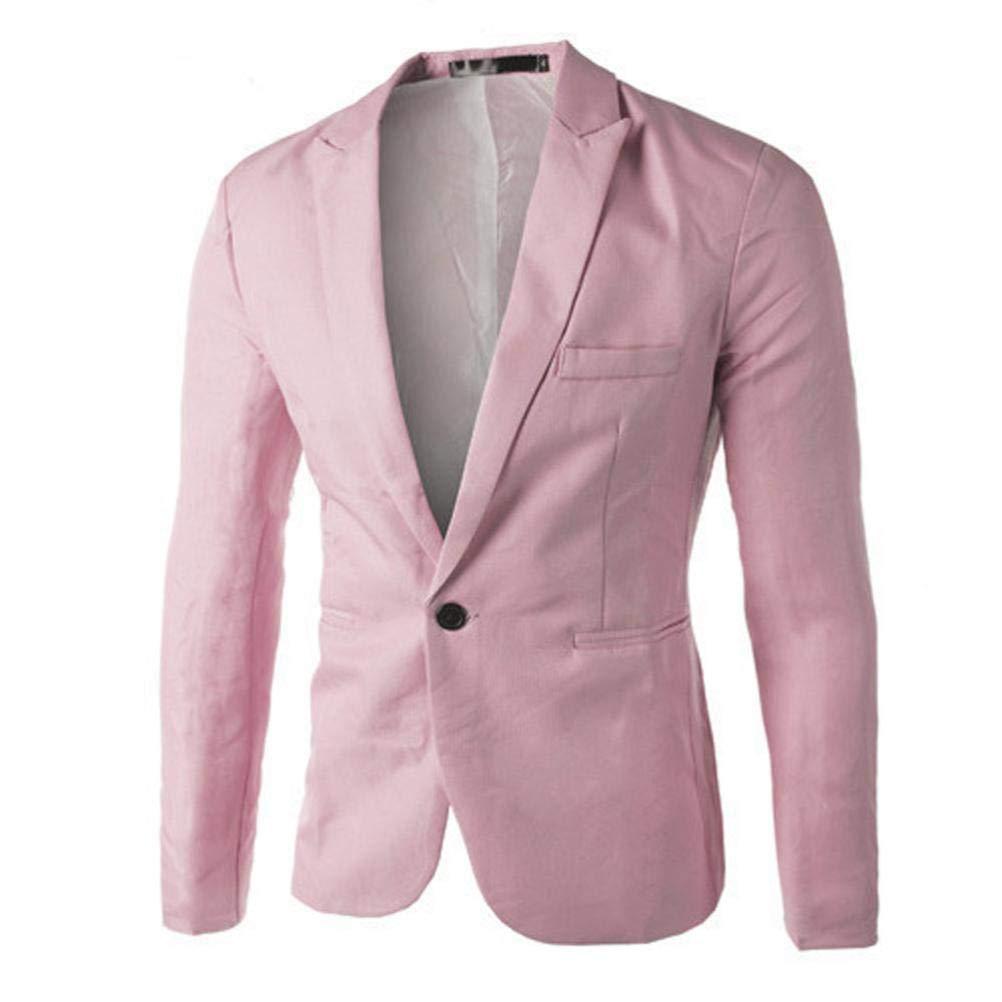 Charm Men's Casual Slim Fit One Button Suit Blazer Coat Cotton Jacket Solid Tops Lapel Outwear BHYDRY