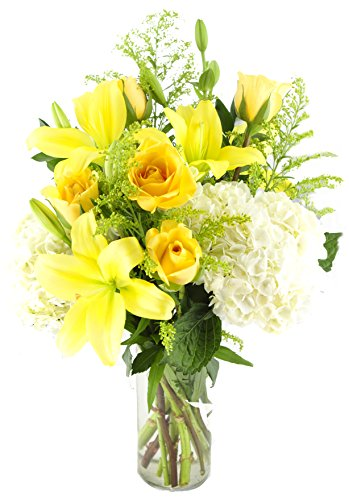 Bouquet of Yellow Roses, Yellow Lilies, White Hydrangeas, and Accented with Yellow Aster & Lush Greens with Vase