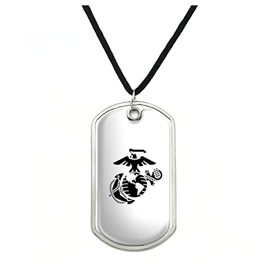 Amazon marine corps usmc black on white eagle globe anchor marine corps usmc black on white eagle globe anchor officially licensed dog tag pendant with cord aloadofball Images