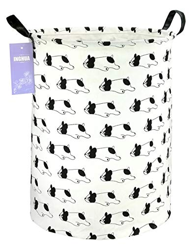 INGHUA Large Canvas Fabric Lightweight Storage Basket/Toy Organizer/Dirty Clothes Collapsible Waterproof for College Dorms, Kids Bedroom,Bathroom,Laundry Hamper (Bulldog)