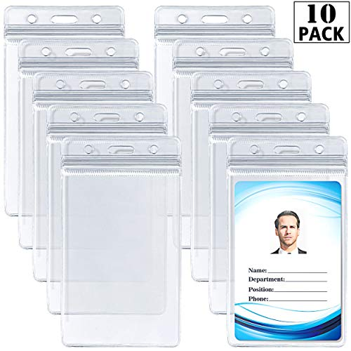 ID Card Name Tag Badge Holder - Waterproof Sealable Clear Plastic Vertical ID Card Holder for Work ID, Key Card, Driver's License (Vertical 10 Pack)